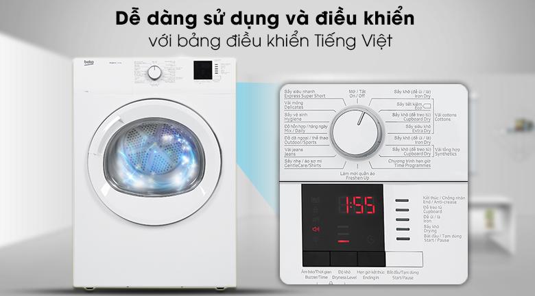 Bảng điều khiển tiếng Việt - Máy sấy Beko 8kg DA8112RX0W