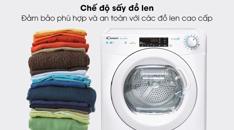 Máy sấy Candy CSO C10TE-S có chế độ sấy giành riêng cho quần áo len