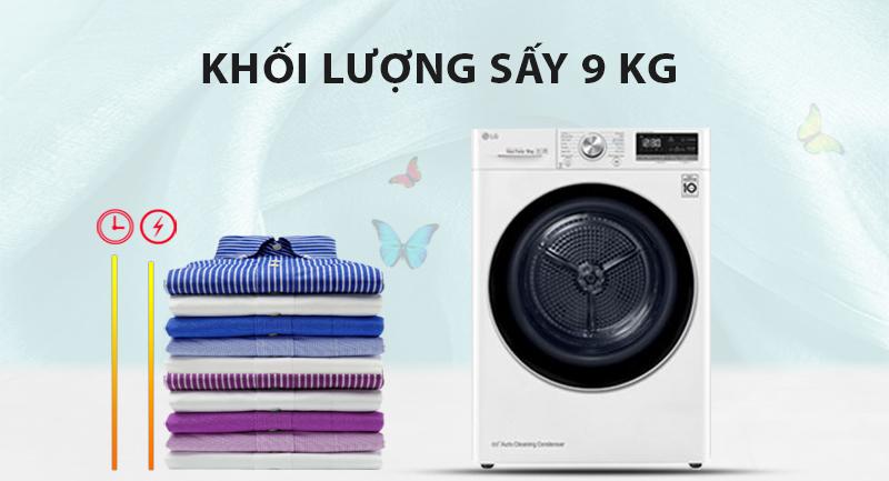 Máy sấy LG 9 Kg DVHP09W-Khối lượng sấy 9 kg, phù hợp cho gia đình đông thành viên trên 4 người