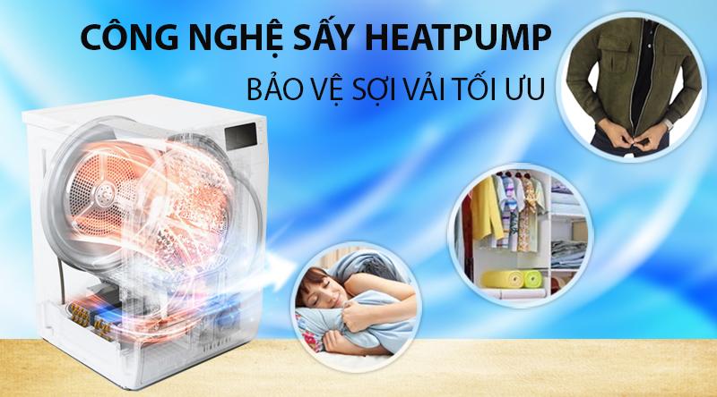 Máy sấy LG 9 Kg DVHP09W-Bảo vệ sợi vải tối ưu với công nghệ sấy Heatpump