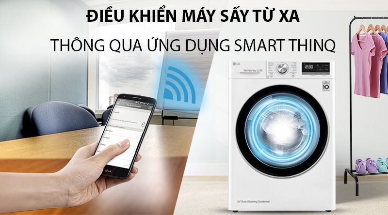 Máy sấy LG 9 Kg DVHP09W-Điều khiển máy giặt từ xa tiện lợi với chức năng Smart ThinQ
