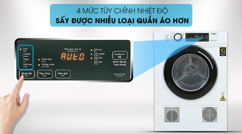 Máy sấy AQUA tích hợp sẵn 4 mức nhiệt độ sấy khác nhau