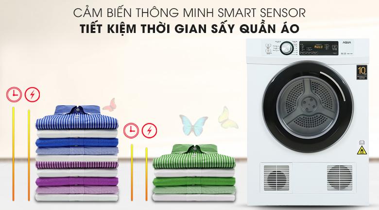 Máy sấy AQUA được trang bị cảm biến Smart Sensor giúp tiết kiệm thời gian sấy
