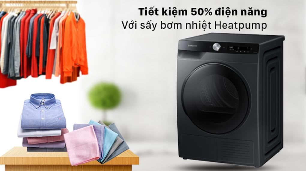 Máy sấy Samsung Inverter 9 kg DV90T7240BB/SV - Tiết kiệm 50% điện năng, sấy khô từng sợi vải với sấy bơm nhiệt Heatpump