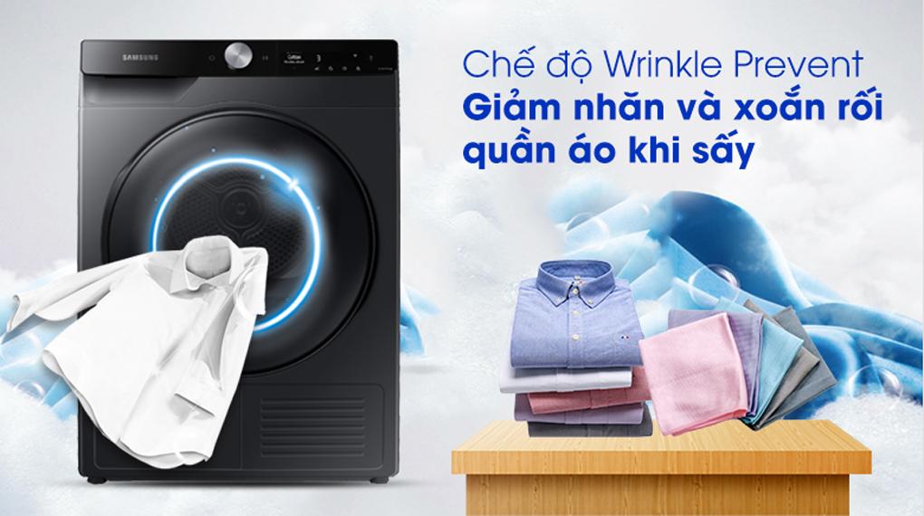 Máy sấy Samsung Inverter 9 kg DV90T7240BB/SV - Giảm nhăn và xoăn rối quần áo với chế độ Wrinkle Prevent