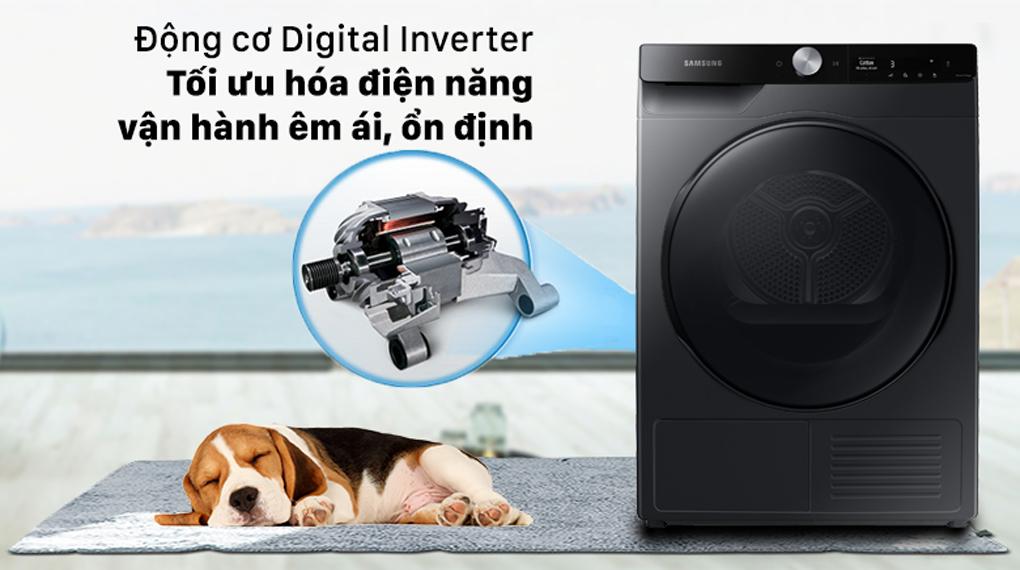 Máy sấy Samsung Inverter 9 kg DV90T7240BB/SV - Động cơ Digital Inverter tối ưu hóa điện năng, vận hành êm ái