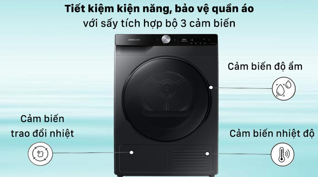 Máy sấy Samsung Inverter 9 kg DV90T7240BB/SV - Sấy tích hợp bộ 3 cảm biến thông minh(Nhiệt độ, Độ ẩm và Trao đổi nhiệt)