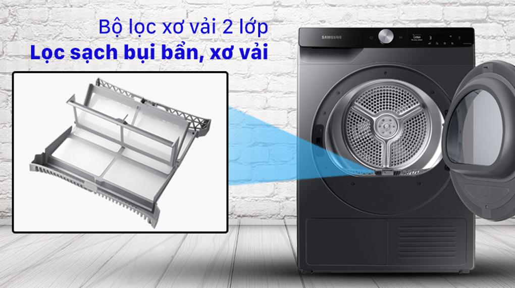 Máy sấy Samsung Inverter 9 kg DV90T7240BB/SV - Bộ lọc 2 sơ vải, loại bỏ bụi bẩn và sơ vải