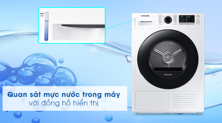 Máy sấy Samsung 9kg DV90TA240AE/SV - Đồng hồ hiển thị mực nước