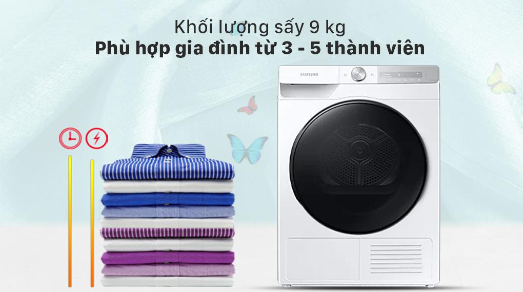 Máy sấy bơm nhiệt Samsung 9kg DV90T7240BH/SV - Khối lượng sấy 9 kg