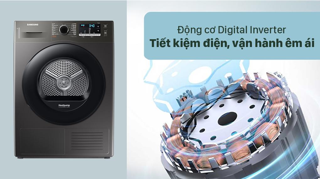 Máy sấy bơm nhiệt Samsung 9 kg DC90TA240AX/SV - Động cơ Digital Inverter