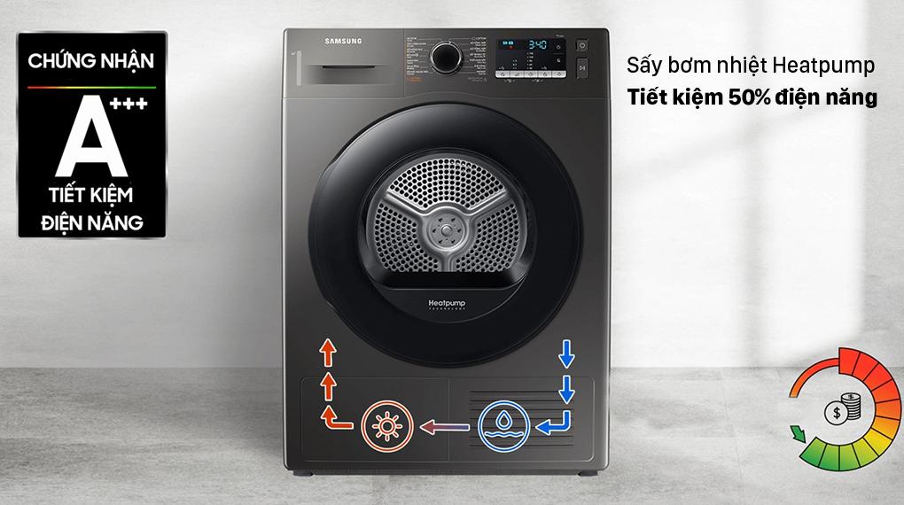 Máy sấy bơm nhiệt Samsung 9kg DV90TA240AX/SV - Sấy Heatpump