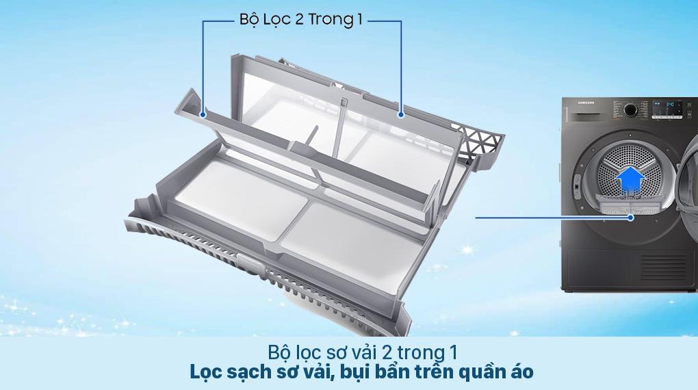 Máy sấy bơm nhiệt Samsung 9 kg DV90TA240AX/SV - Bộ lọc 2 trong 1
