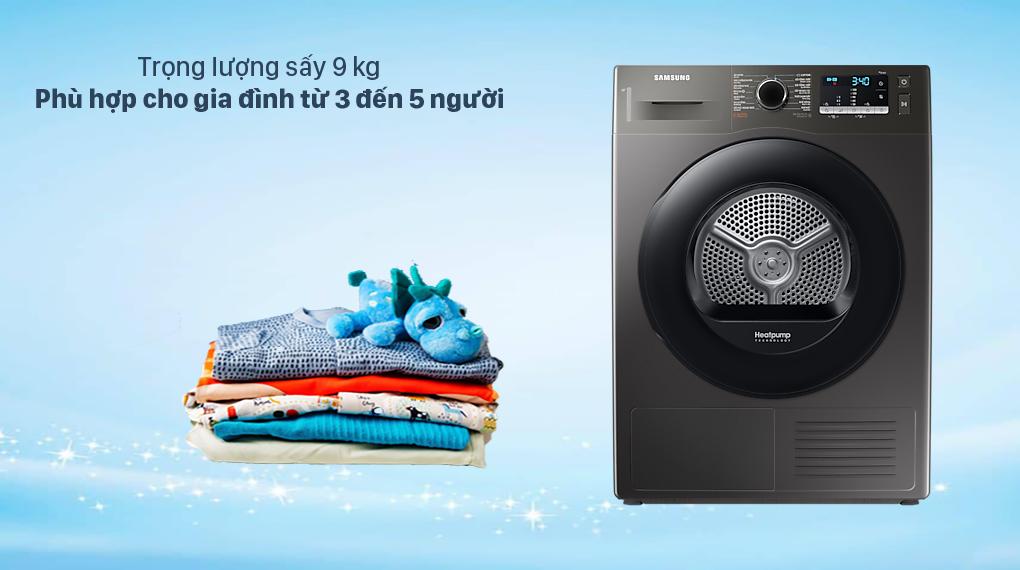 Máy sấy bơm nhiệt Samsung 9 kg - Khối lượng sấy 9 kg
