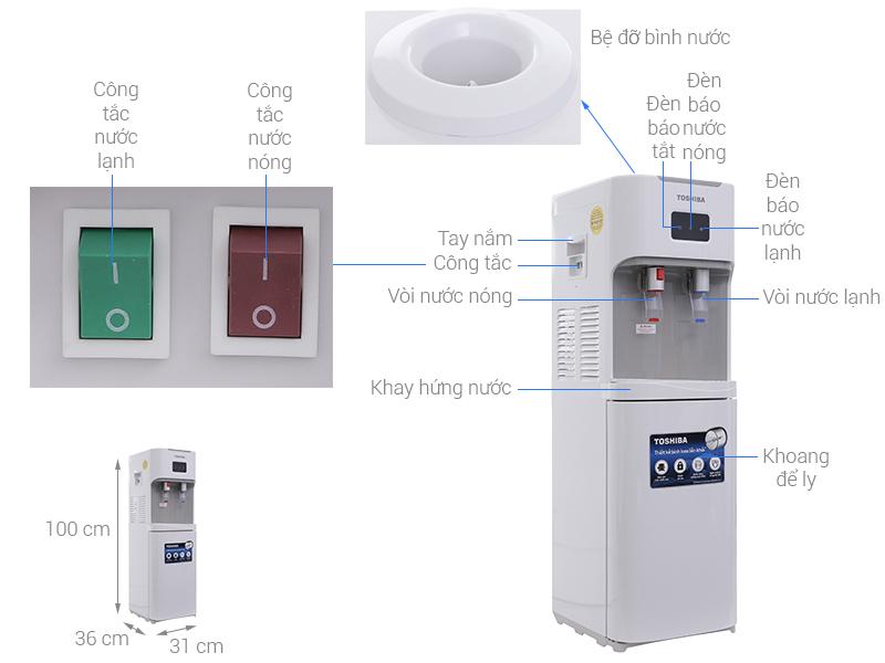 Thông số kỹ thuật Cây nước nóng lạnh Toshiba RWF-W1664TV(W)