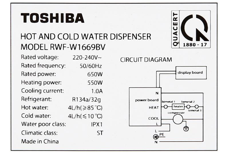 Công suất hoạt động tốt - Máy nước nóng lạnh Toshiba RWF-W1669BV(K1)