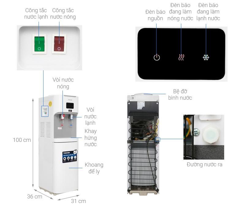 Thông số kỹ thuật Cây nước nóng lạnh Toshiba RWF-W1664TV(W1)