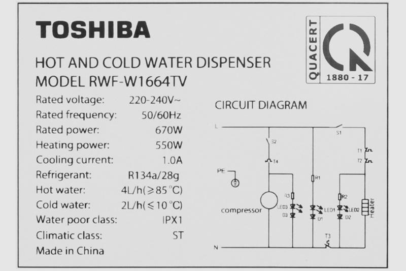 Có nhiệt độ làm nóng nước từ 85 - 90 độ C, làm lạnh nước từ 6 - 8 độ C - Cây nước nóng lạnh Toshiba RWF-W1664TV(W1)