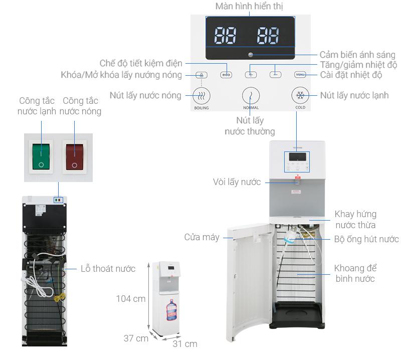 Thông số kỹ thuật Cây nước nóng lạnh Toshiba RWF-W1830BV(W)