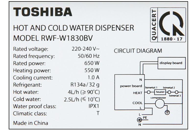 Nhiệt độ làm nóng nước từ 85 - 95 độ C, nhiệt độ làm lạnh từ 5 - 10 độ C - Máy nước nóng lạnh Toshiba RWF-W1830BV(W)