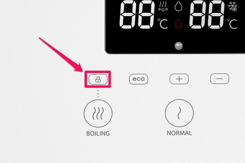 Khóa chức năng làm nước nóng - Máy nước nóng lạnh Toshiba RWF-W1830BV(W)