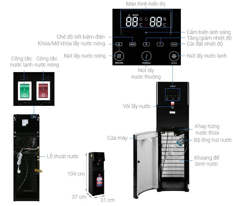 Thông số kỹ thuật Cây nước nóng lạnh Toshiba RWF-W1830BV(K)
