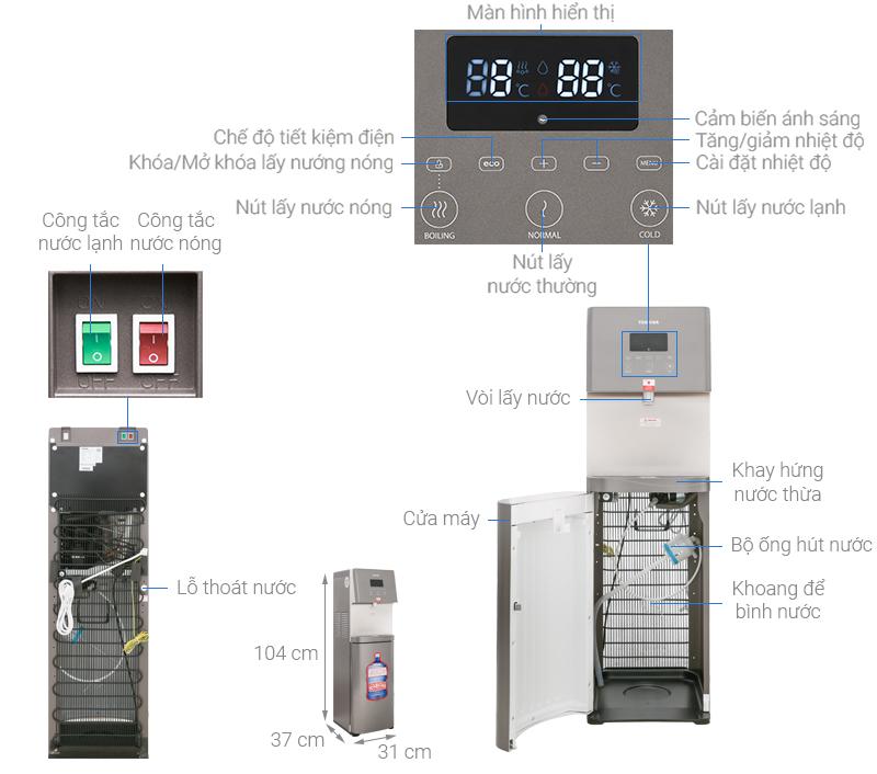 Thông số kỹ thuật Cây nước nóng lạnh Toshiba RWF-W1830UVBV(T)