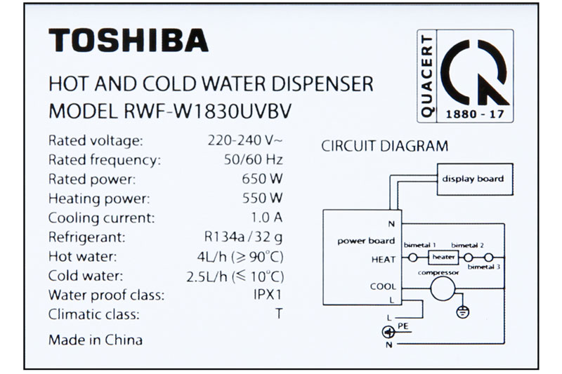 Nhiệt độ làm nóng đạt 85 - 95 độ C, nhiệt độ làm lạnh từ 5 - 9 độ C - Máy nước nóng lạnh Toshiba RWF-W1830UVBV(T)