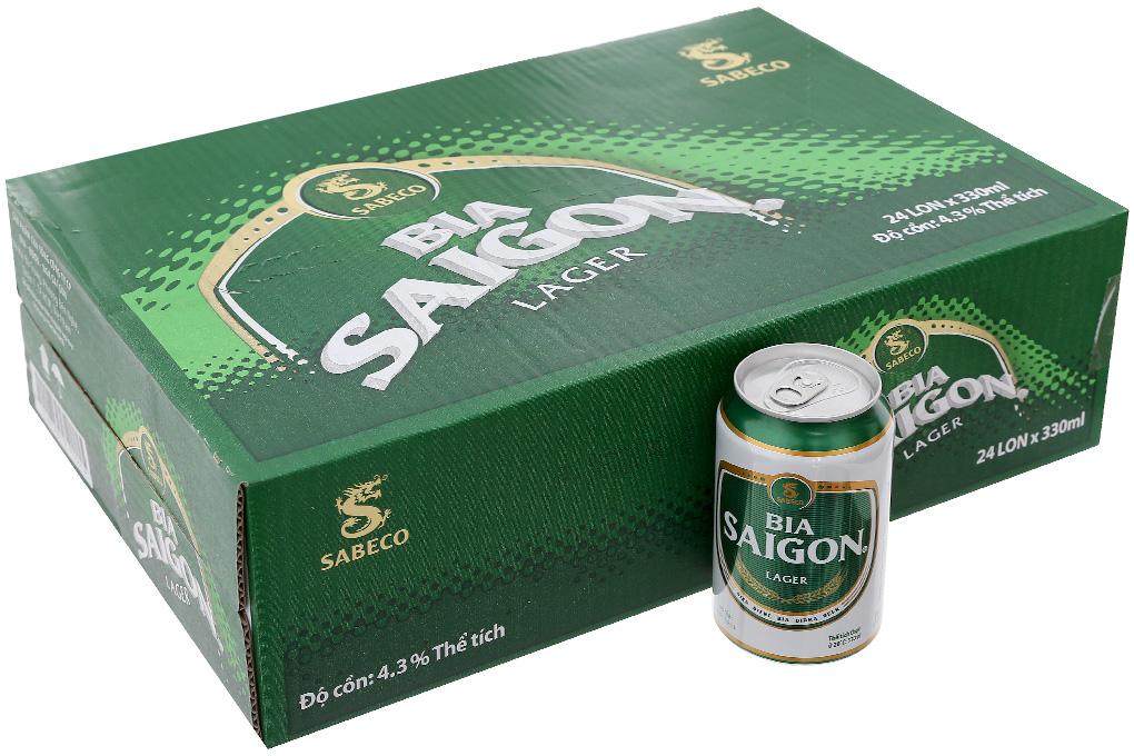 Thùng 24 lon Bia Sài Gòn Lager 330ml 2