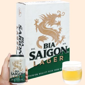 Thùng 24 lon bia Sài Gòn Lager 330ml