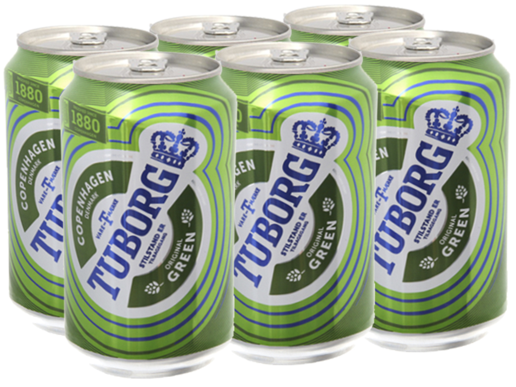 6 lon bia Tuborg 330ml 1