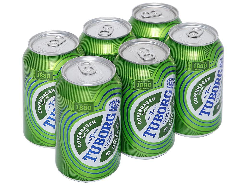6 lon bia Tuborg 330ml 1