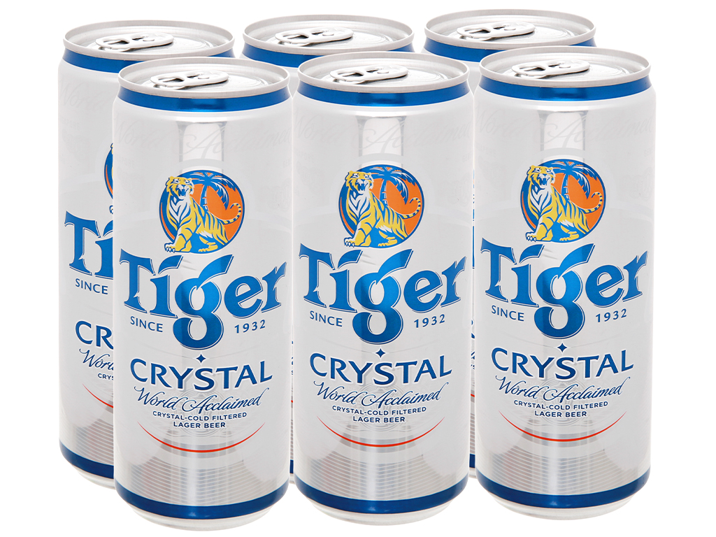 6 lon bia Tiger Crystal 330ml 1