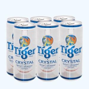 6 lon bia Tiger Crystal 330ml