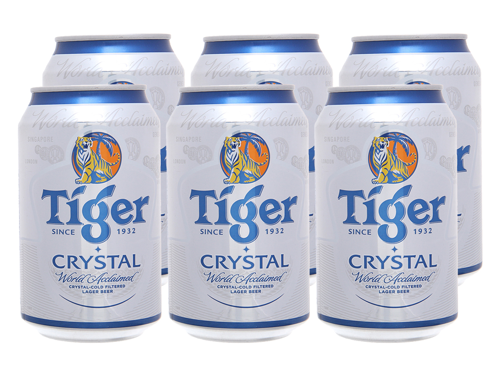 6 lon bia Tiger Crystal 330ml 2