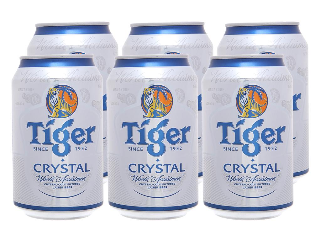 6 lon Bia Tiger Crystal 330ml 2