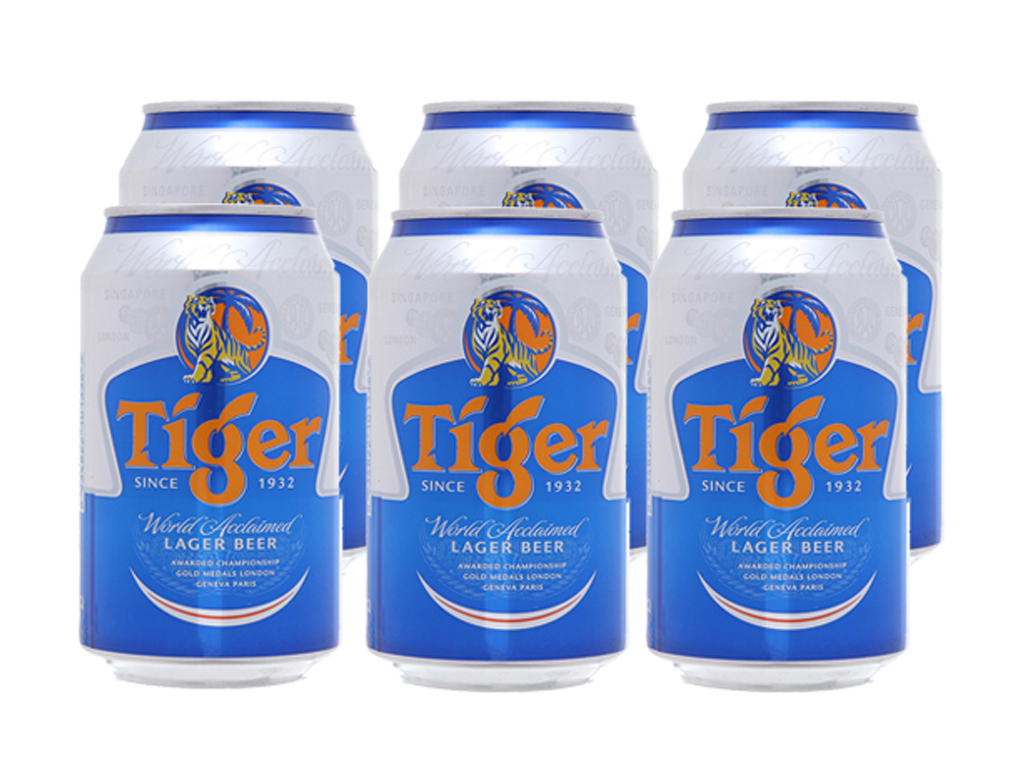 6 lon Bia Tiger 330ml 1