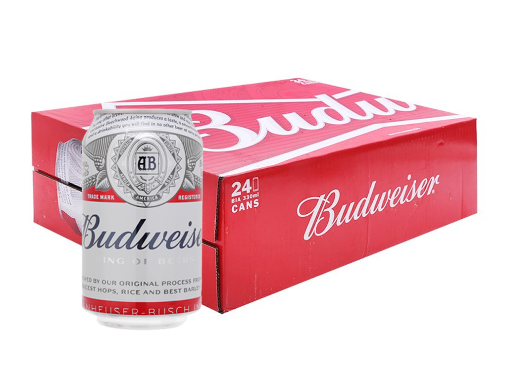 Thùng 24 lon bia Budweiser 330ml 1