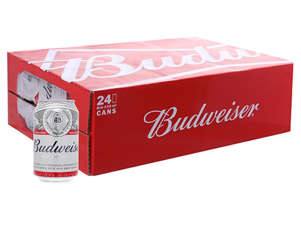Thùng 24 lon bia Budweiser 330ml 100