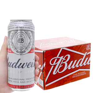Thùng 12 lon bia Budweiser 500ml