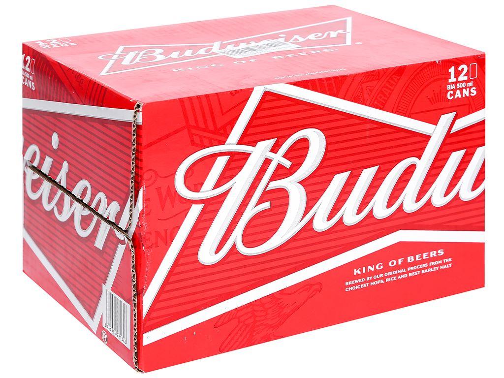 Thùng 12 lon bia Budweiser 500ml 1