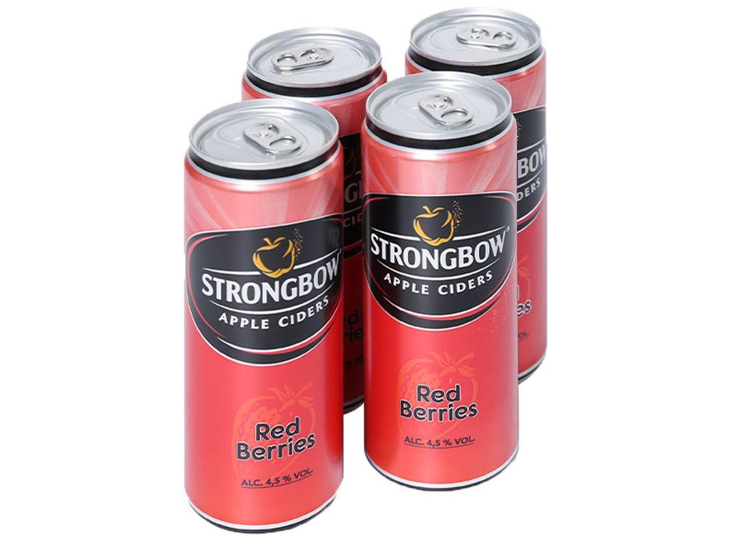 4 lon Strongbow dâu 330ml 1