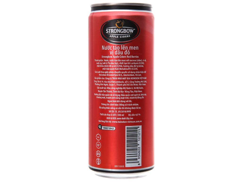 4 lon Strongbow Dâu 330ml 2