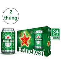 Combo 2 thùng bia Heineken lon 330ml (24 lon)