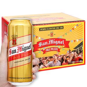 Thùng 12 lon bia San Miguel Pale Pilsen 500ml