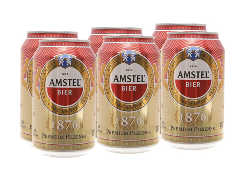 6 lon bia Amstel 330ml 2