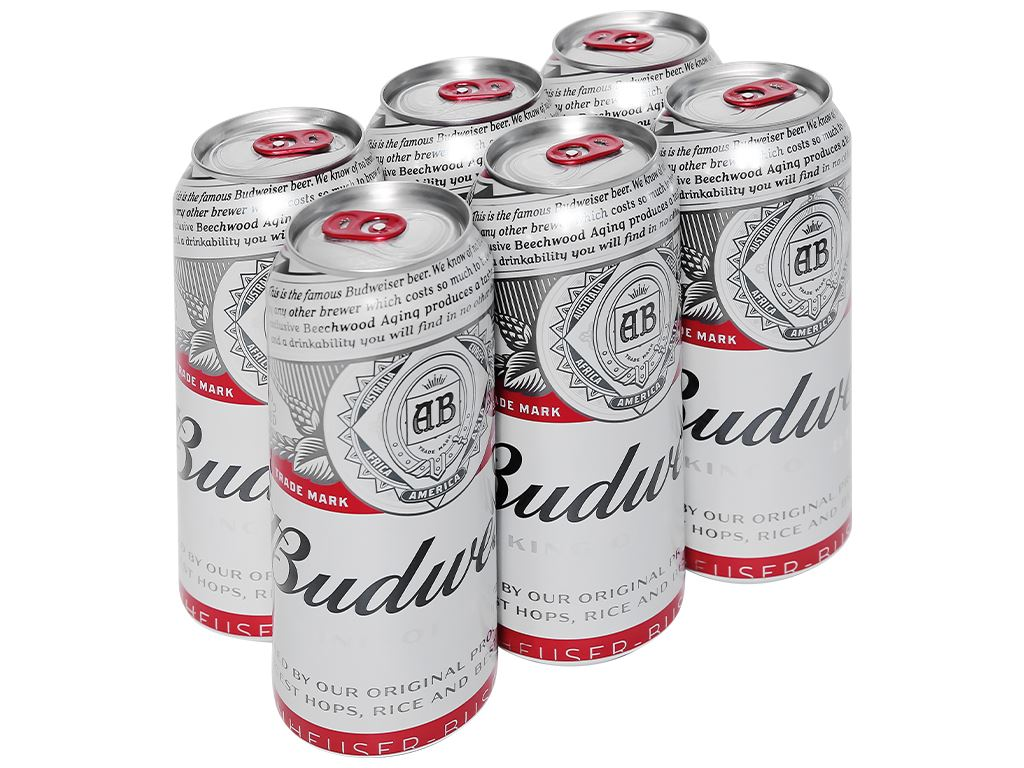 6 lon bia Budweiser 500ml 1