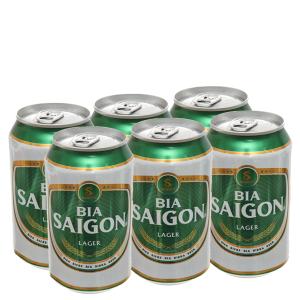 6 lon bia Sài Gòn Lager 330ml