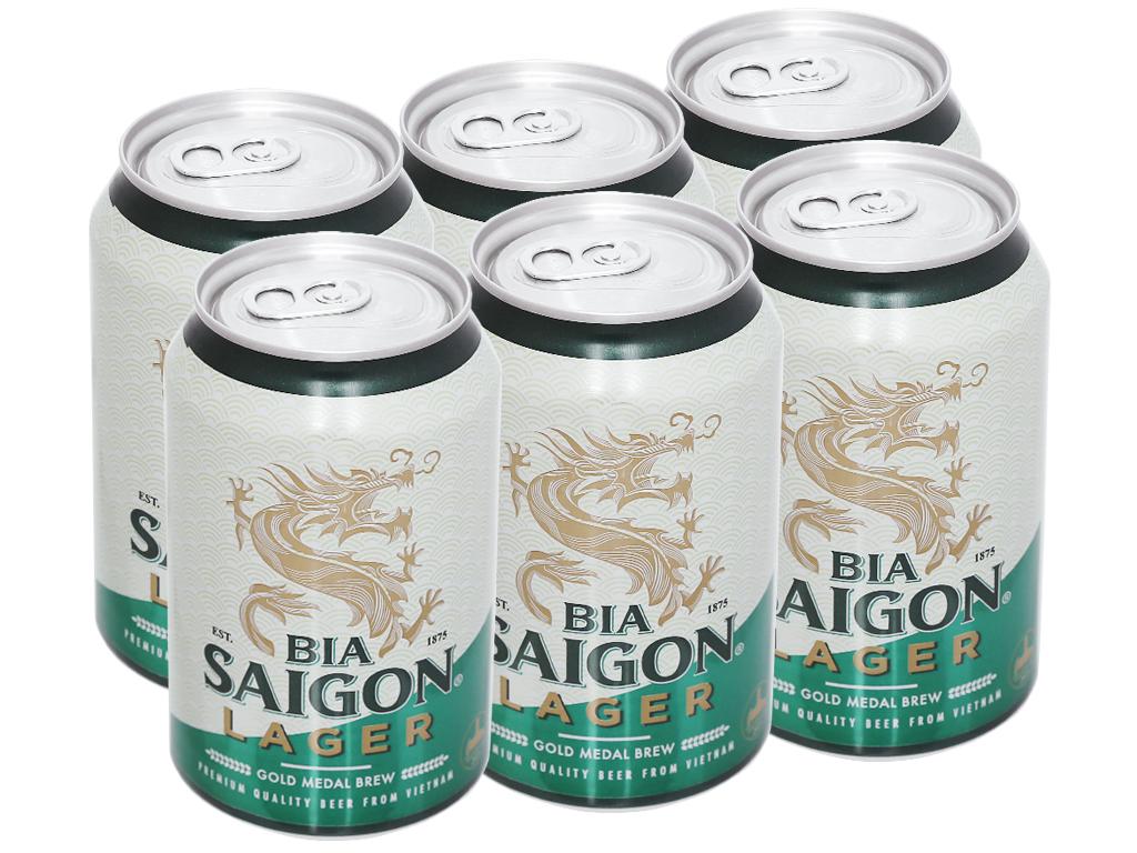 6 lon bia Sài Gòn Lager 330ml 5