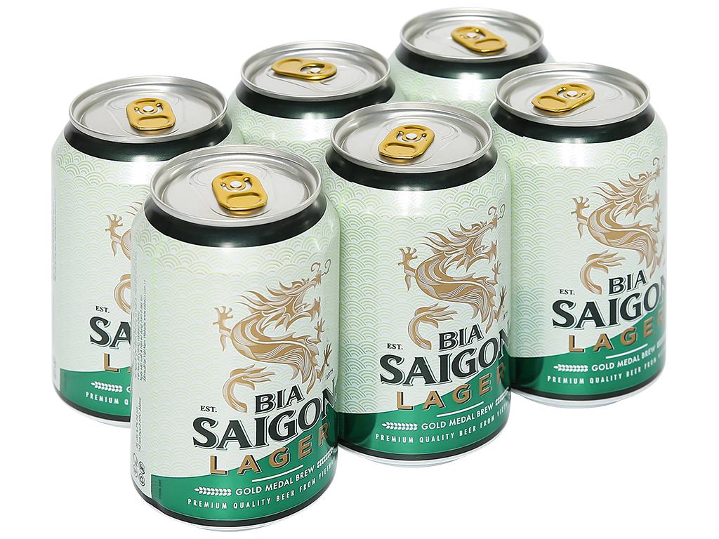 6 lon bia Sài Gòn Lager 330ml 1